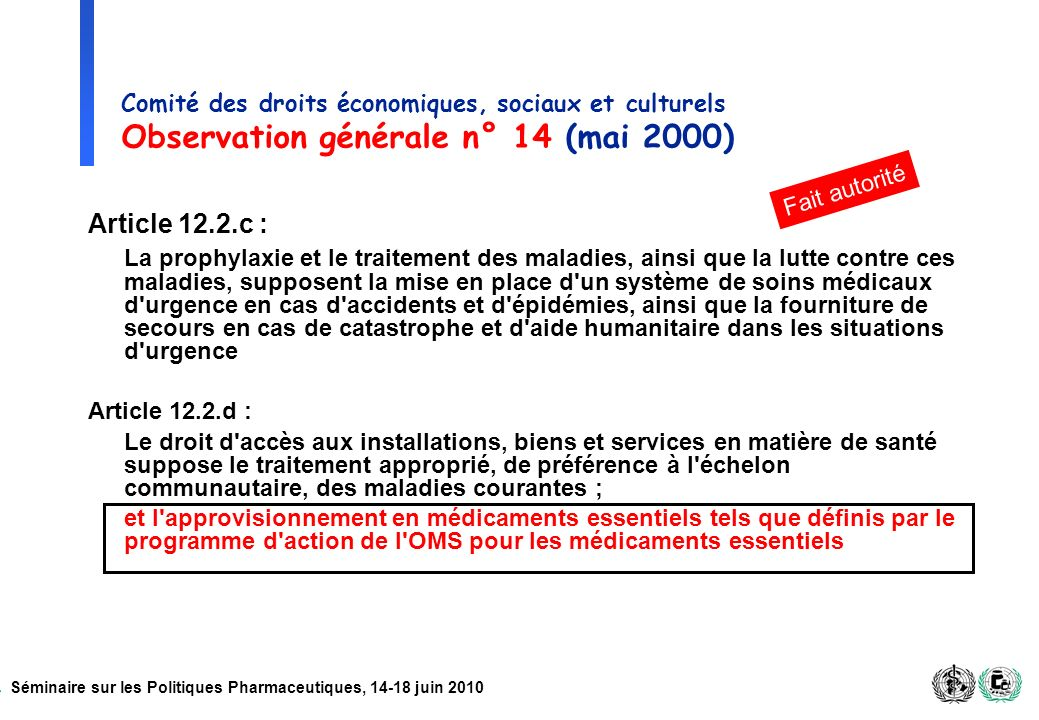 Comité des droits économiques, sociaux et culturels Observation générale n° 14 (mai 2000)