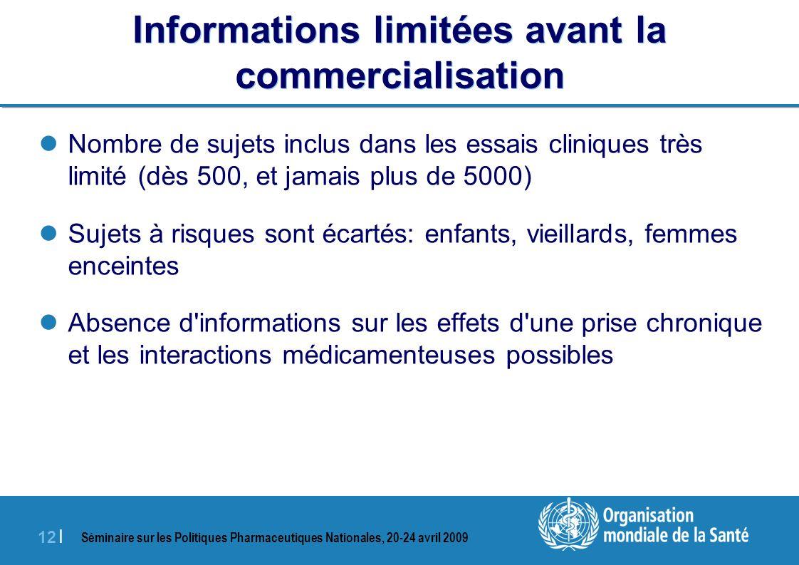 Informations limitées avant la commercialisation