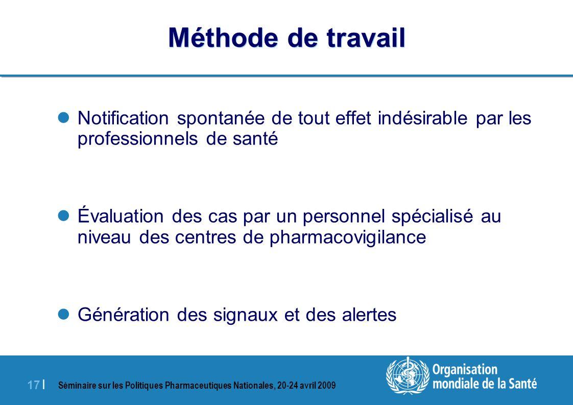 Méthode de travailNotification spontanée de tout effet indésirable par les professionnels de santé.