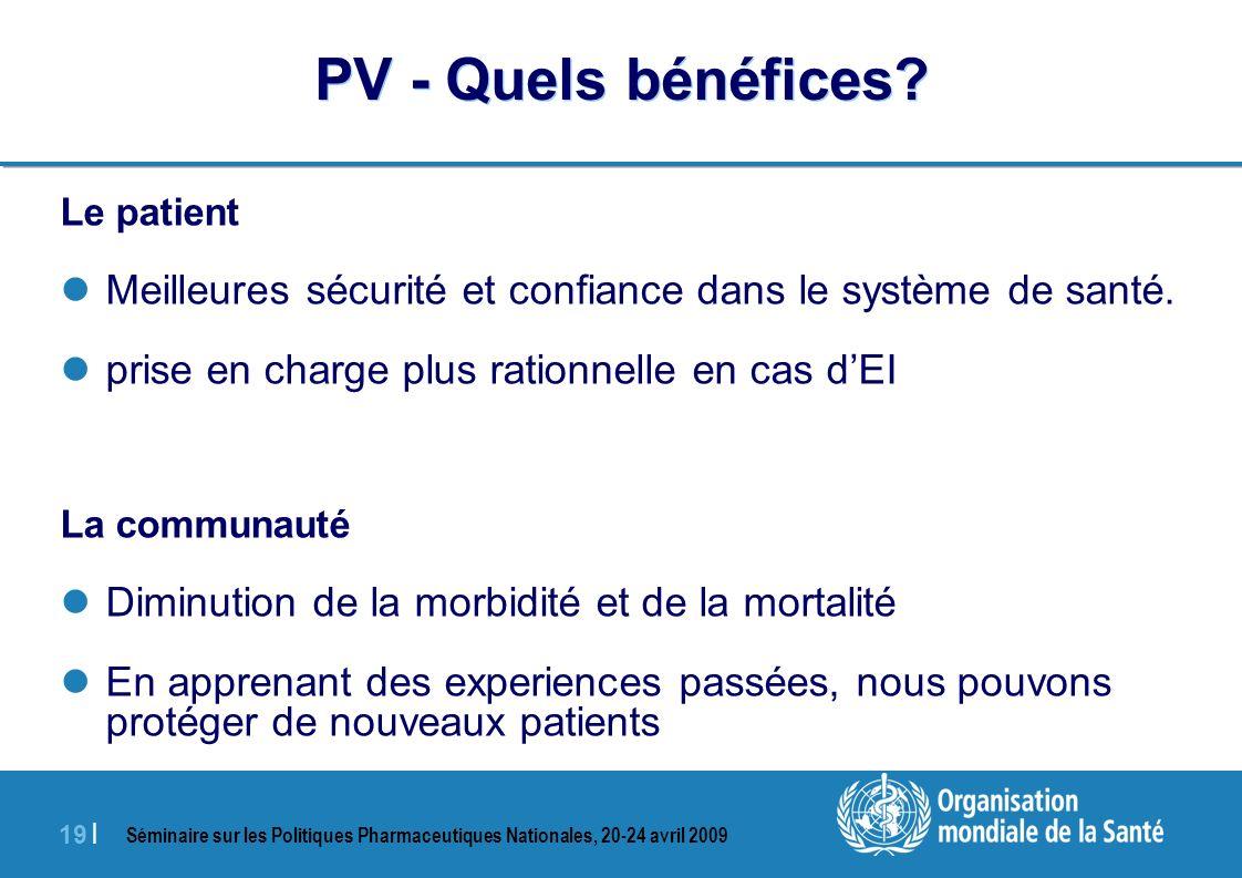 PV - Quels bénéfices Le patient. Meilleures sécurité et confiance dans le système de santé. prise en charge plus rationnelle en cas d'EI.