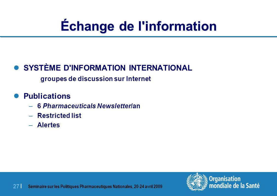 Échange de l information