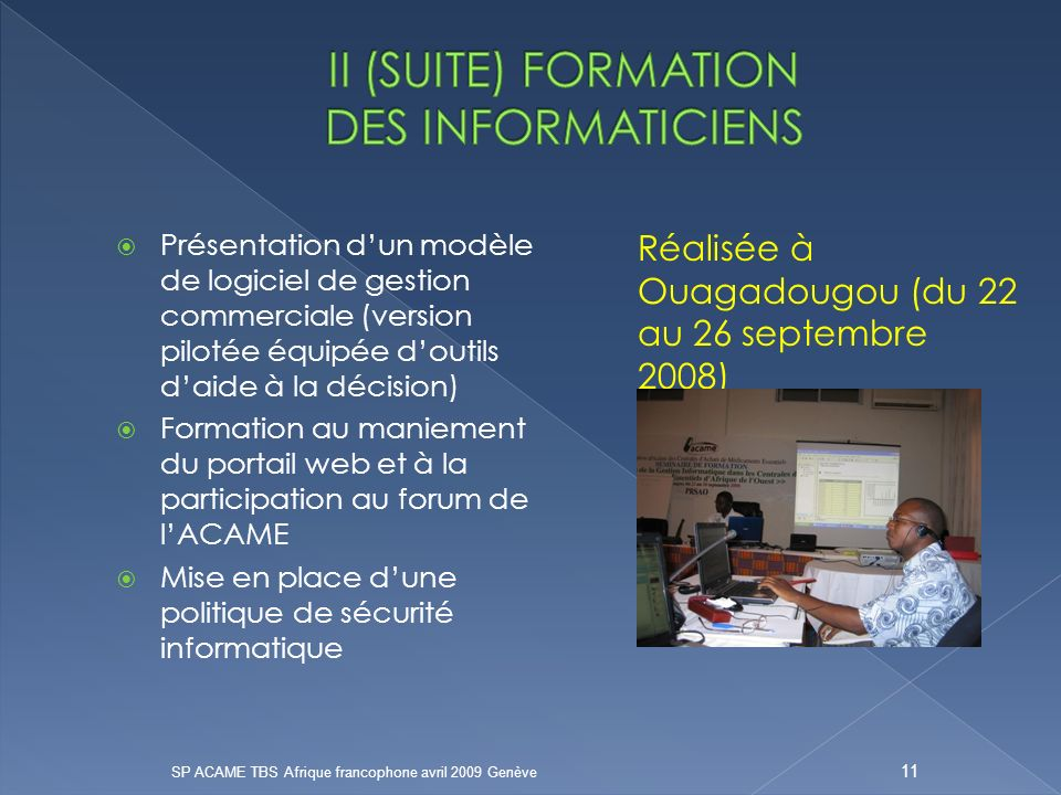 II (SUITE) FORMATION DES INFORMATICIENS