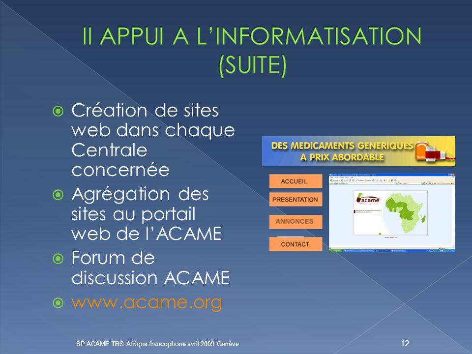 II APPUI A L'INFORMATISATION (SUITE)
