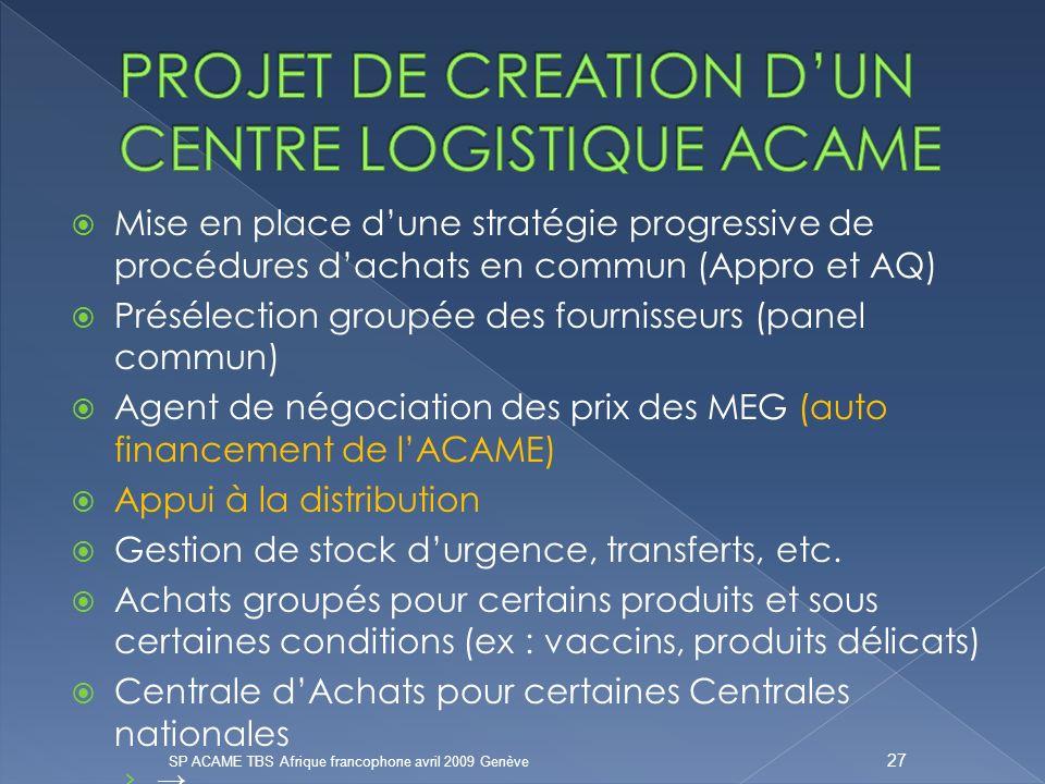 PROJET DE CREATION D'UN CENTRE LOGISTIQUE ACAME