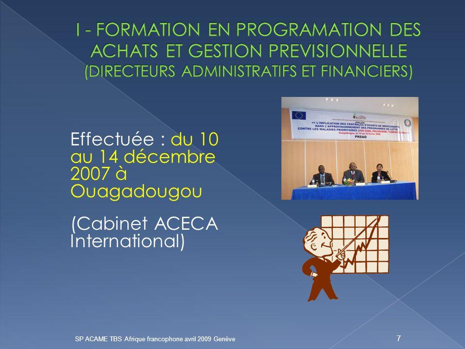 Effectuée : du 10 au 14 décembre 2007 à Ouagadougou