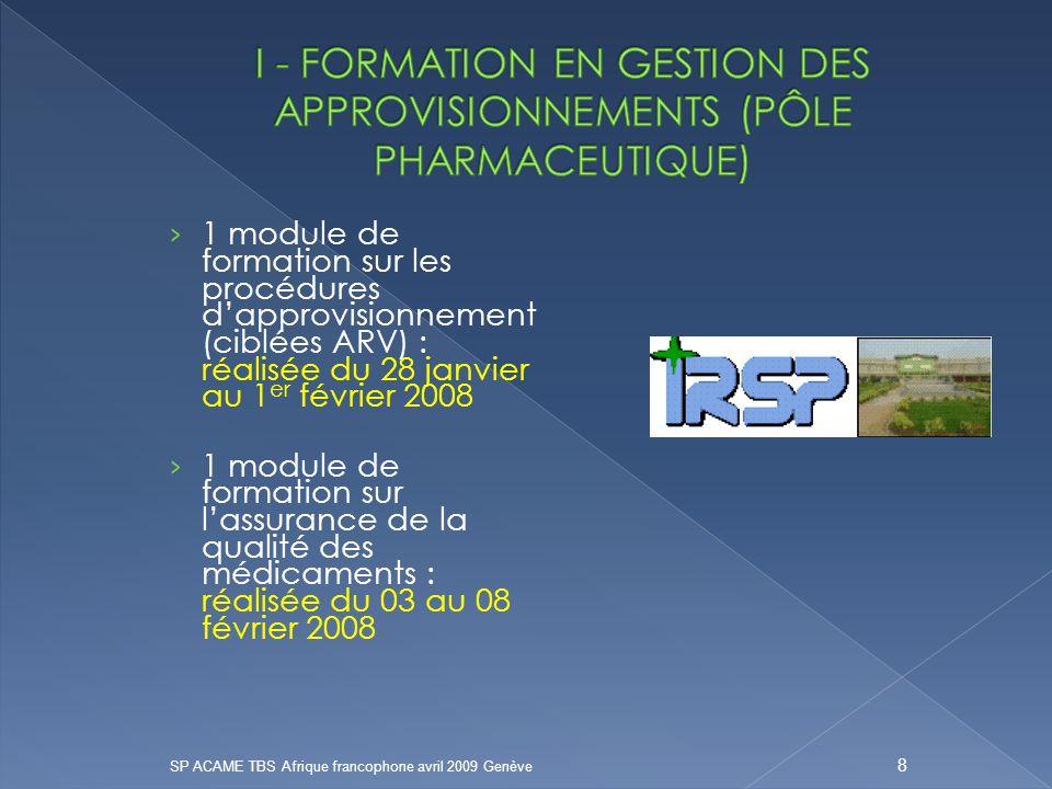 I - FORMATION EN GESTION DES APPROVISIONNEMENTS (PÔLE PHARMACEUTIQUE)