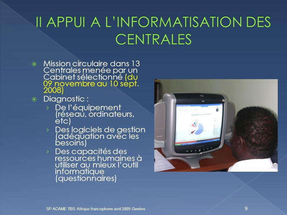 II APPUI A L'INFORMATISATION DES CENTRALES