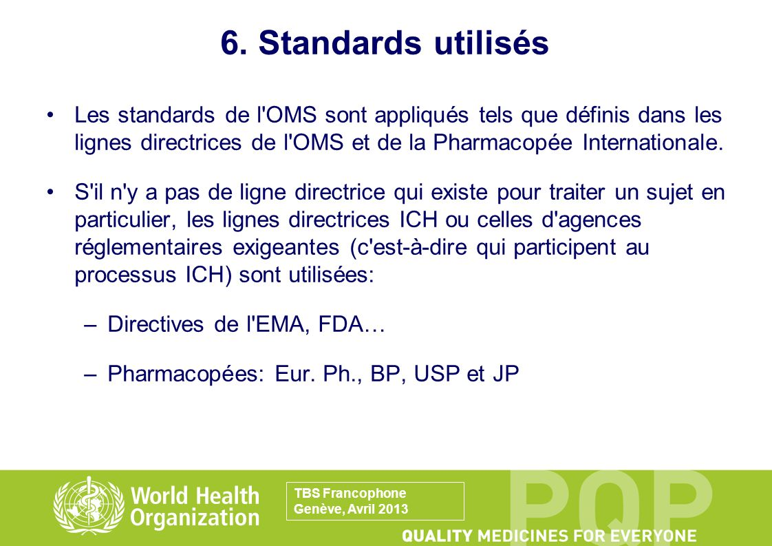 6. Standards utilisés