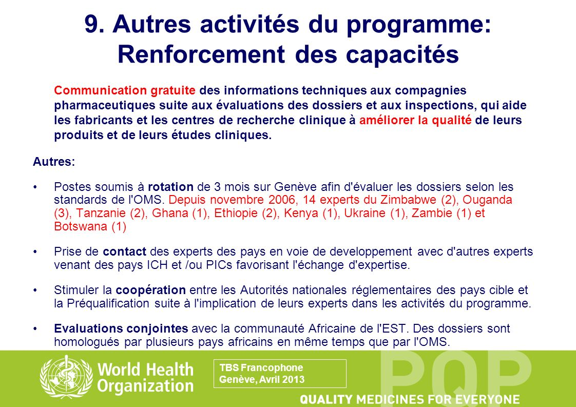 9. Autres activités du programme: Renforcement des capacités