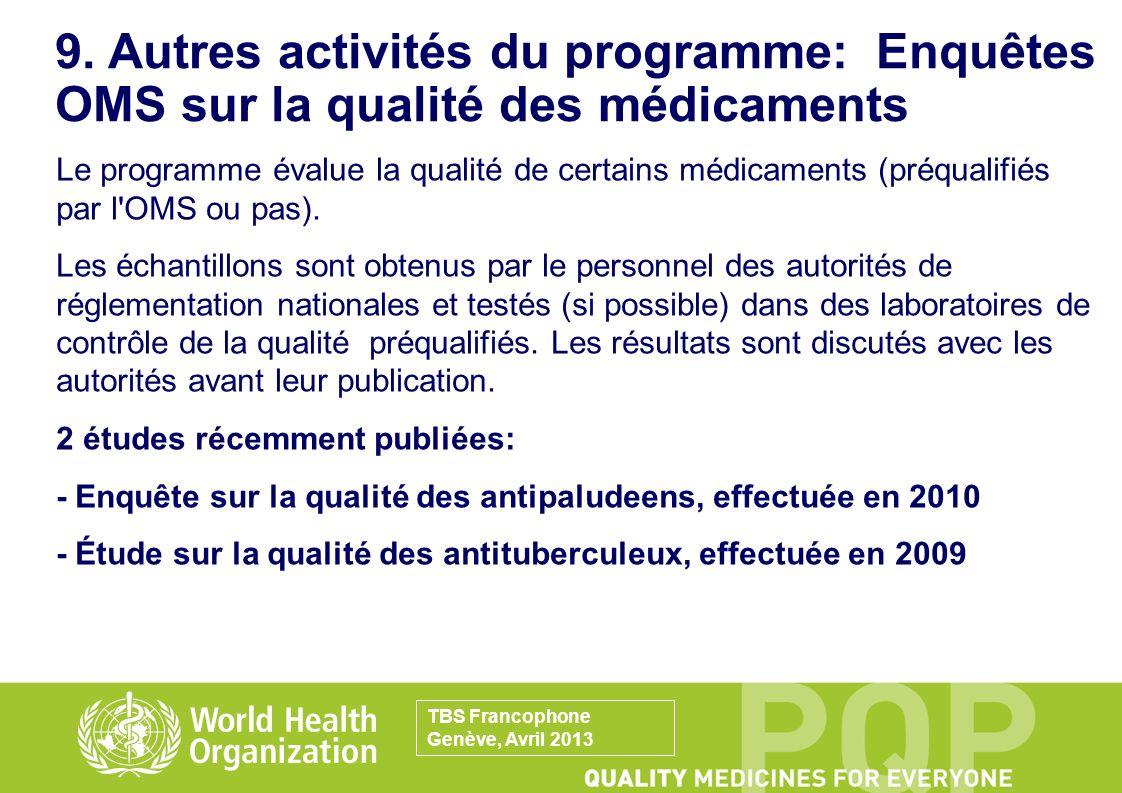 9. Autres activités du programme: Enquêtes OMS sur la qualité des médicaments