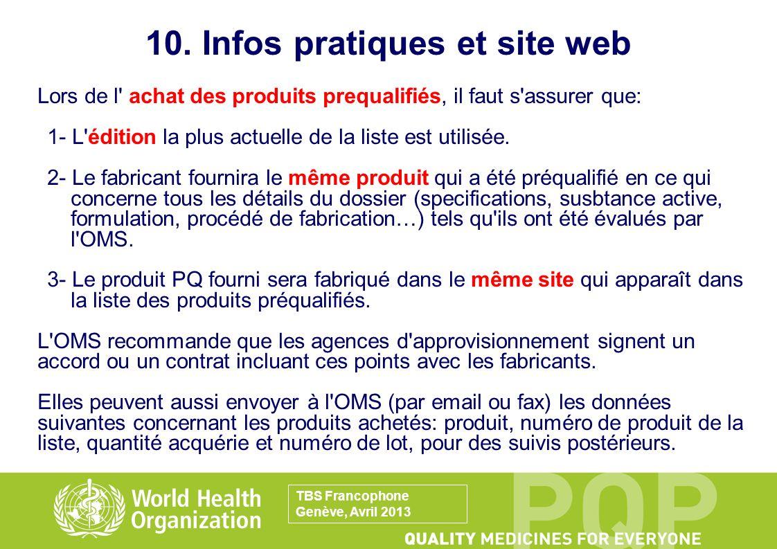 10. Infos pratiques et site web