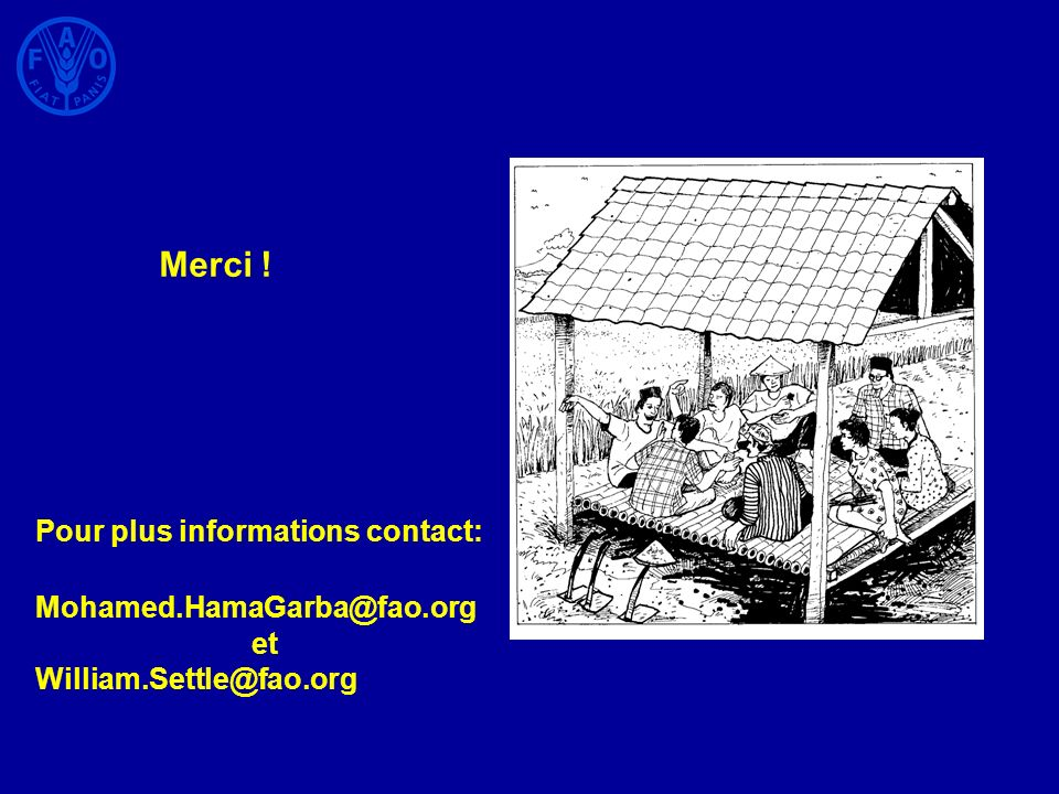 Merci ! Pour plus informations contact: Mohamed.HamaGarba@fao.org et