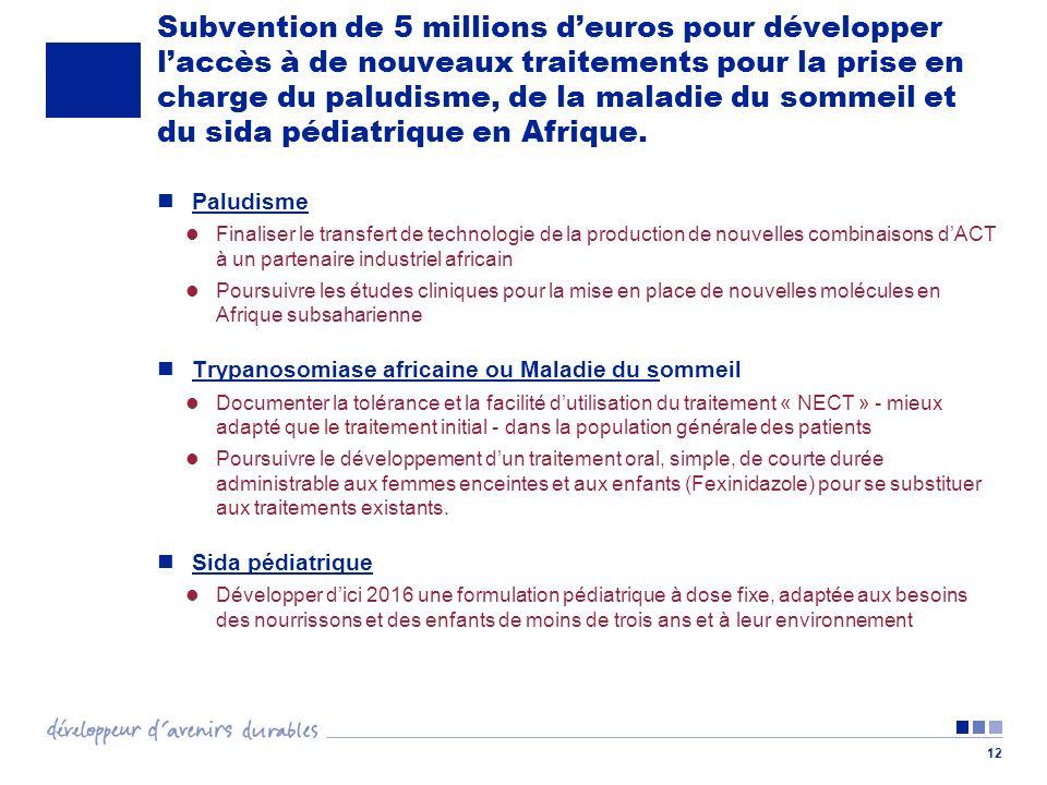 Subvention de 5 millions d'euros pour développer l'accès à de nouveaux traitements pour la prise en charge du paludisme, de la maladie du sommeil et du sida pédiatrique en Afrique.
