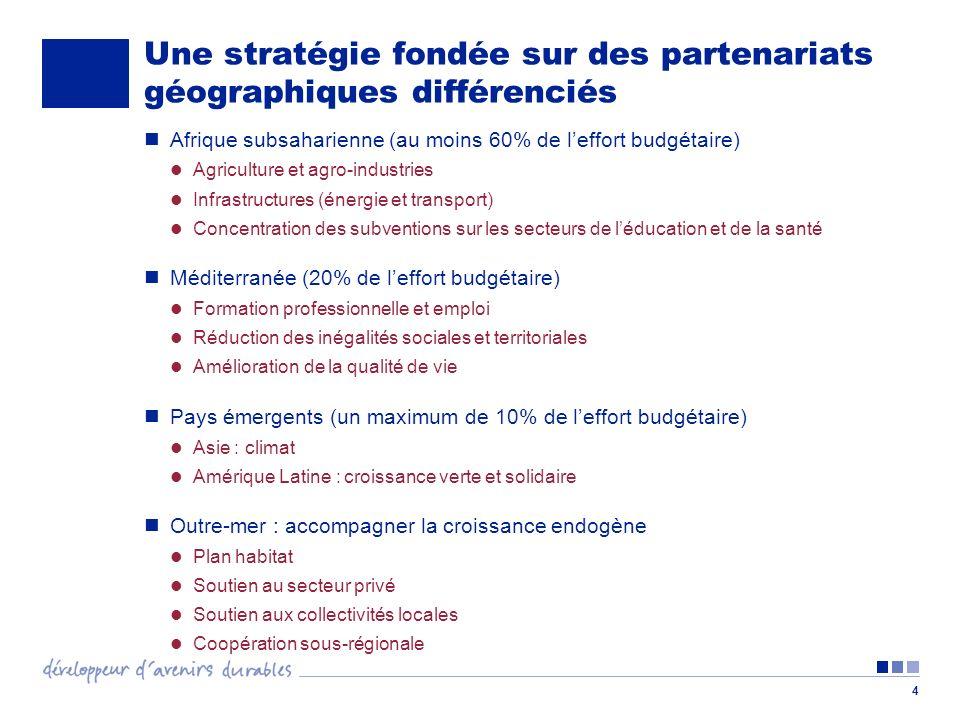 Une stratégie fondée sur des partenariats géographiques différenciés