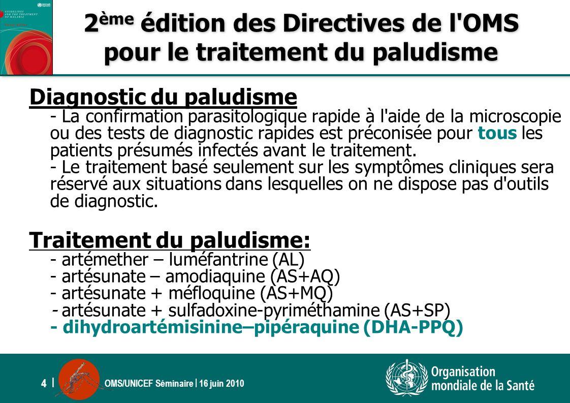 2ème édition des Directives de l OMS pour le traitement du paludisme