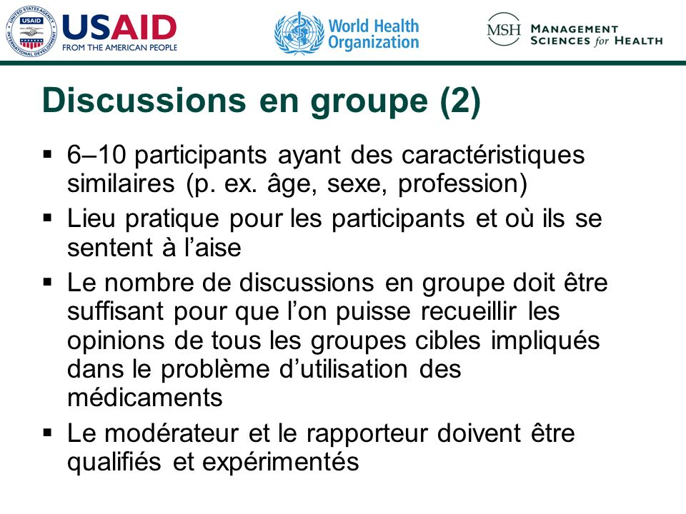 Discussions en groupe (2)