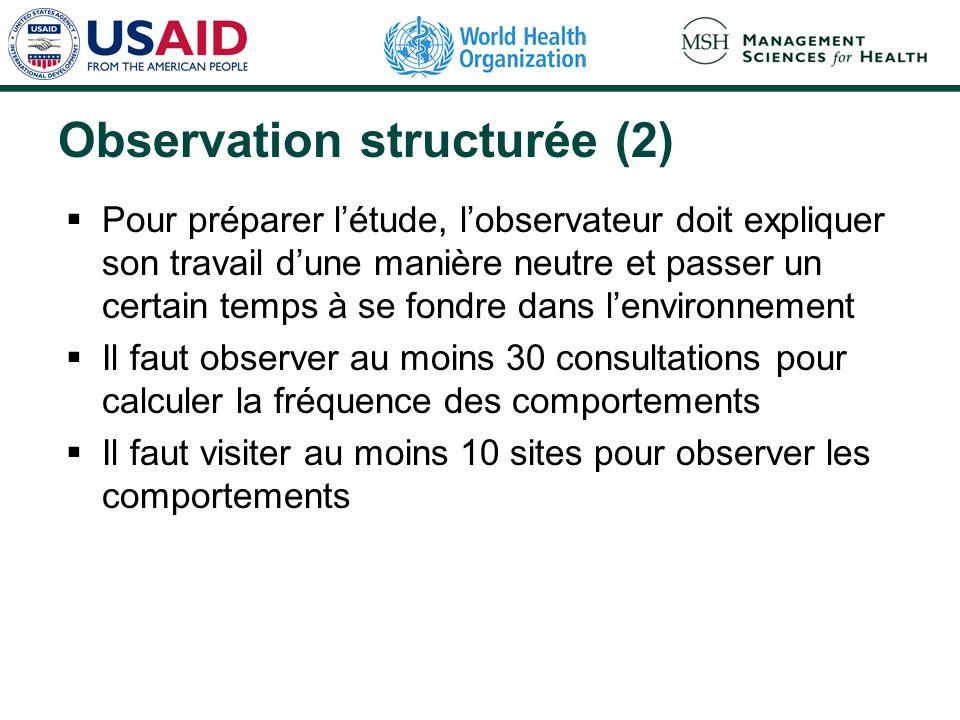 Observation structurée (2)