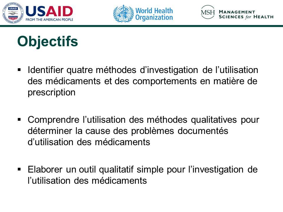 Objectifs Identifier quatre méthodes d'investigation de l'utilisation des médicaments et des comportements en matière de prescription.