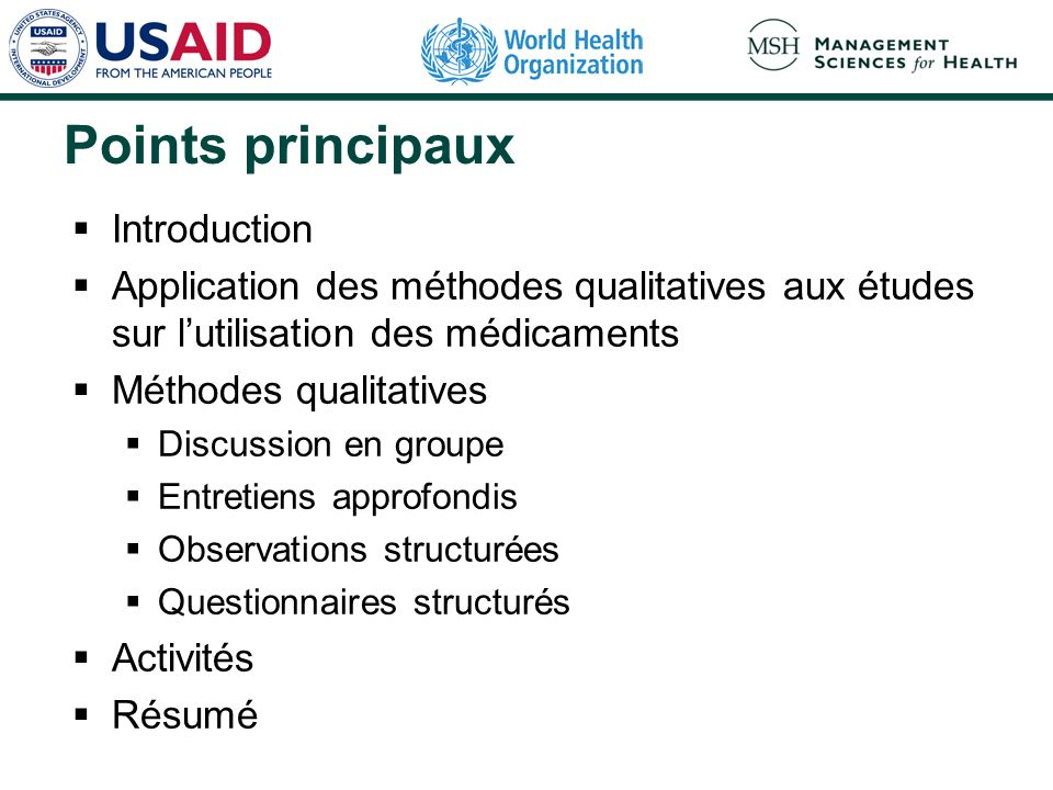 Points principaux Introduction