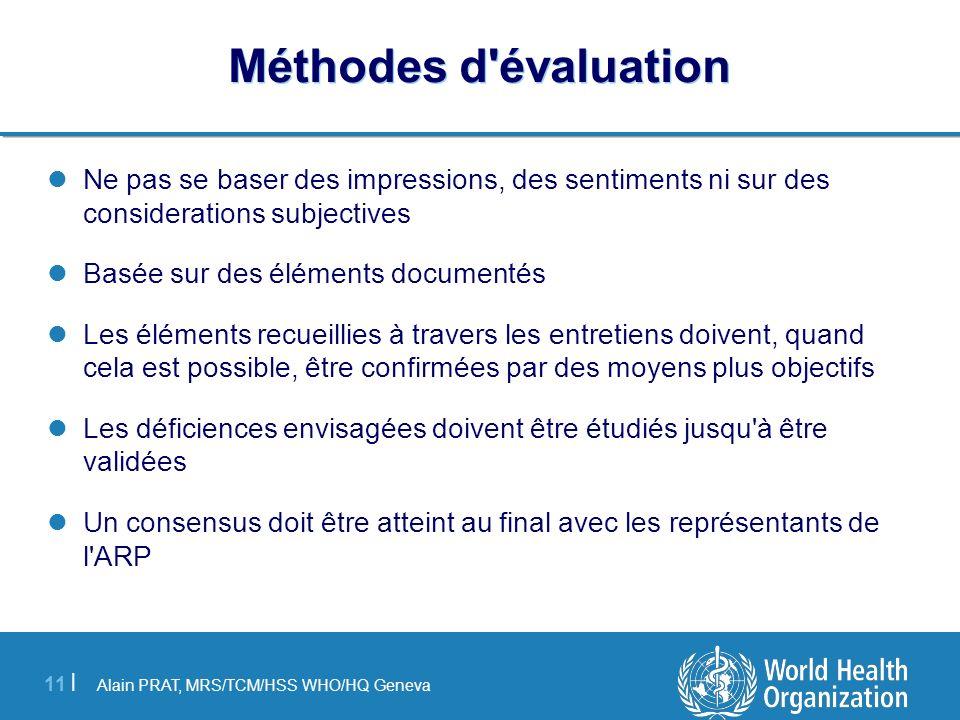 Méthodes d évaluation Ne pas se baser des impressions, des sentiments ni sur des considerations subjectives.