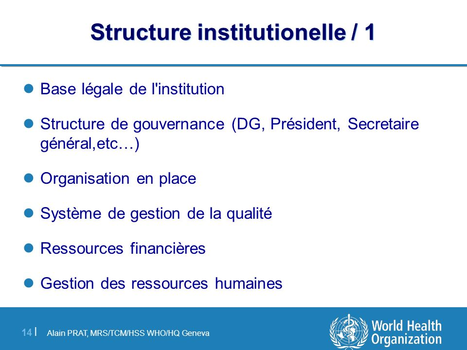 Structure institutionelle / 1