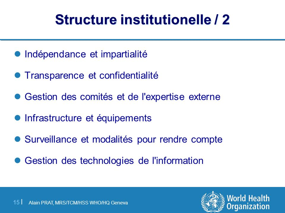 Structure institutionelle / 2