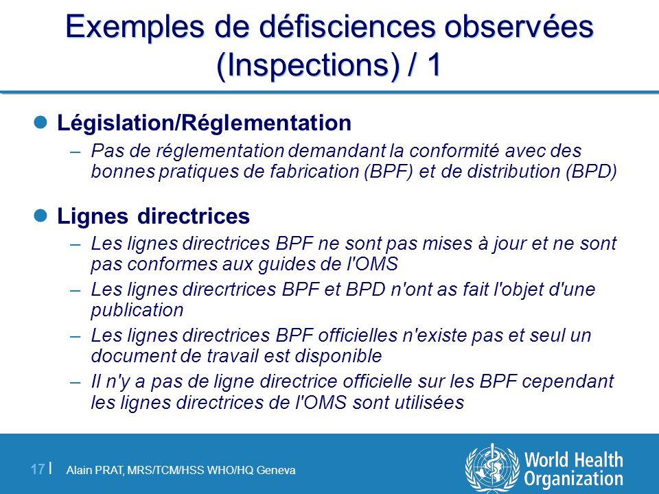 Exemples de défisciences observées (Inspections) / 1