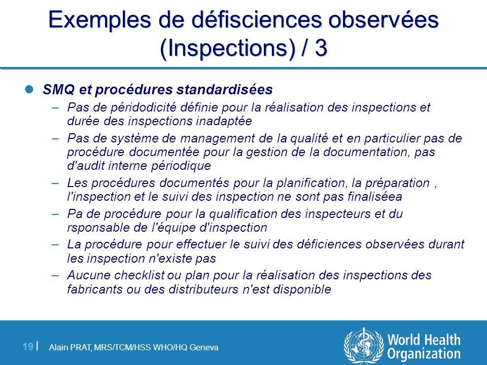 Exemples de défisciences observées (Inspections) / 3