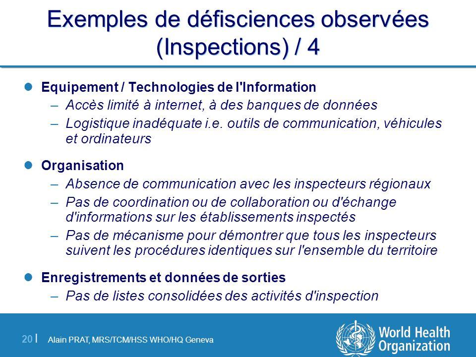 Exemples de défisciences observées (Inspections) / 4