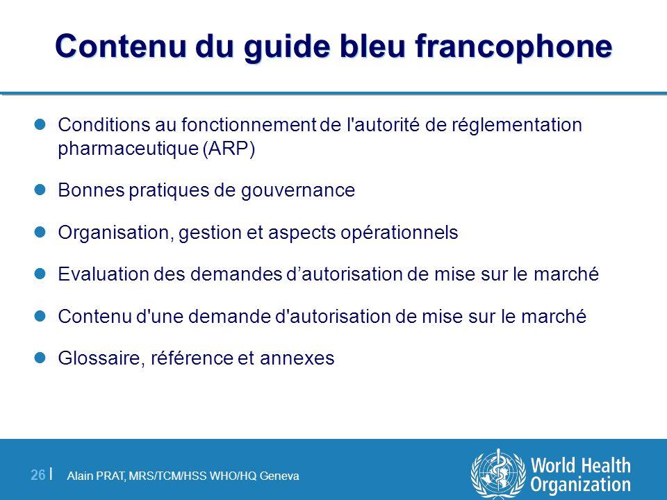 Contenu du guide bleu francophone