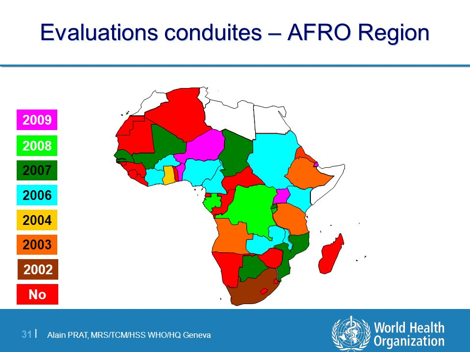 Evaluations conduites – AFRO Region