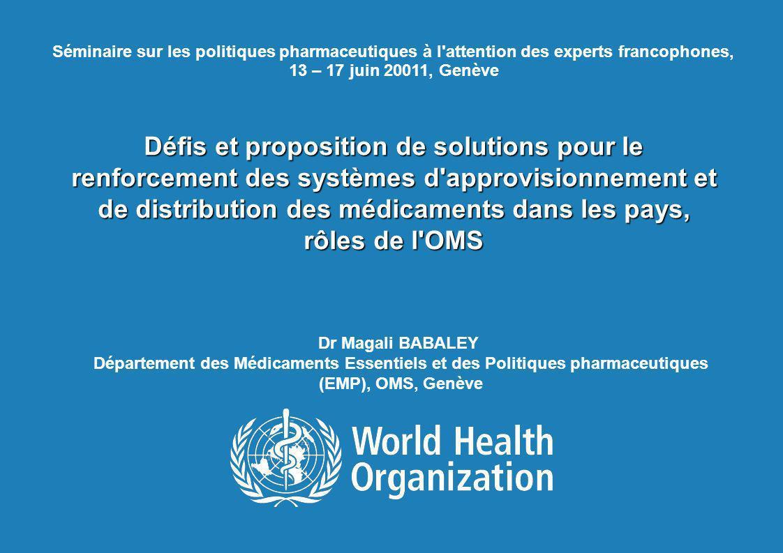 11 mars 2008 Séminaire sur les politiques pharmaceutiques à l attention des experts francophones, 13 – 17 juin 20011, Genève.