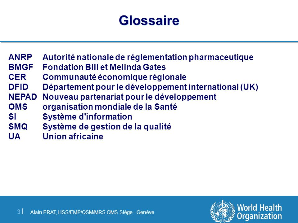 Glossaire ANRP Autorité nationale de réglementation pharmaceutique