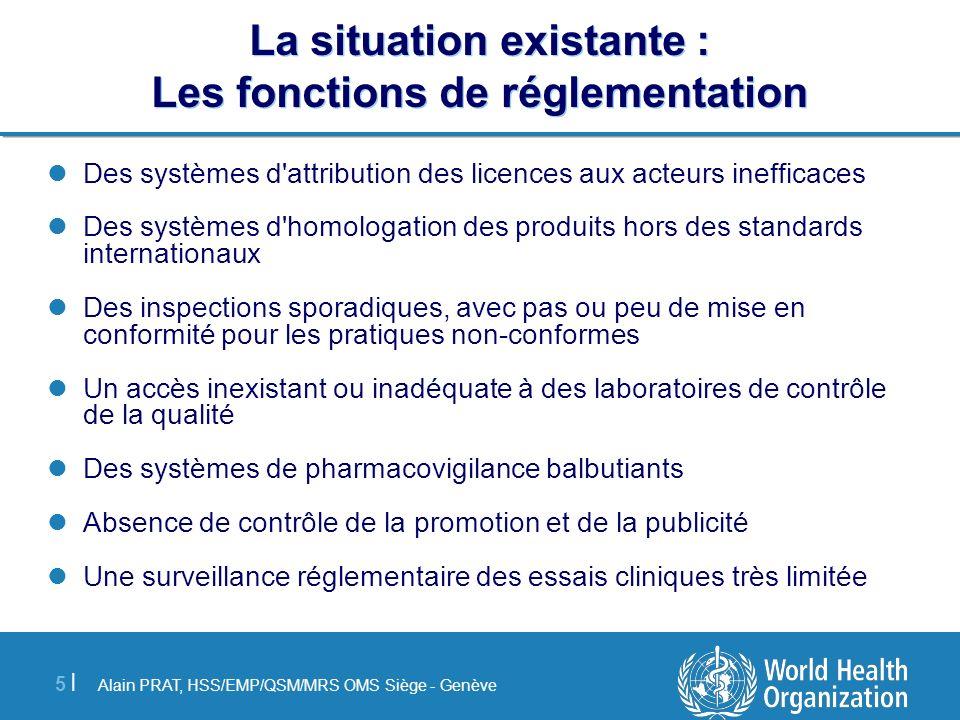 La situation existante : Les fonctions de réglementation
