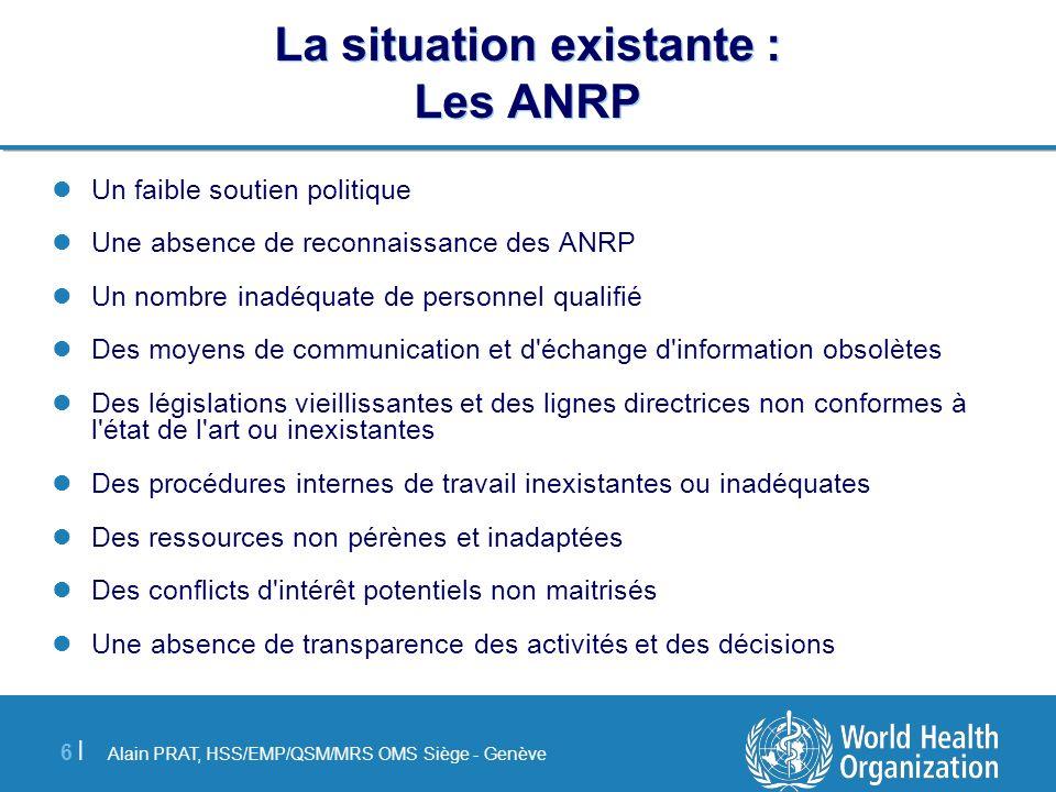 La situation existante : Les ANRP
