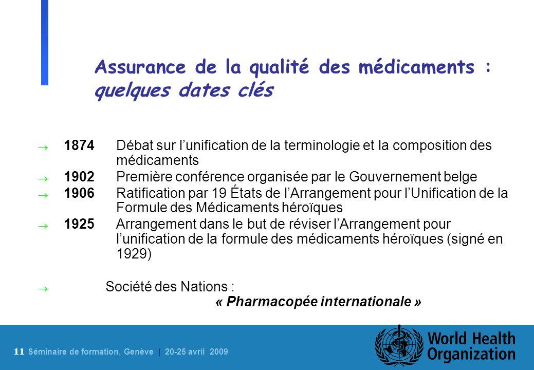 Assurance de la qualité des médicaments : quelques dates clés