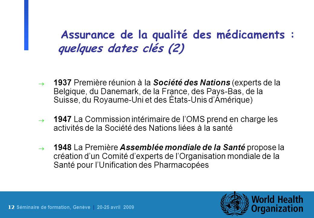 Assurance de la qualité des médicaments : quelques dates clés (2)