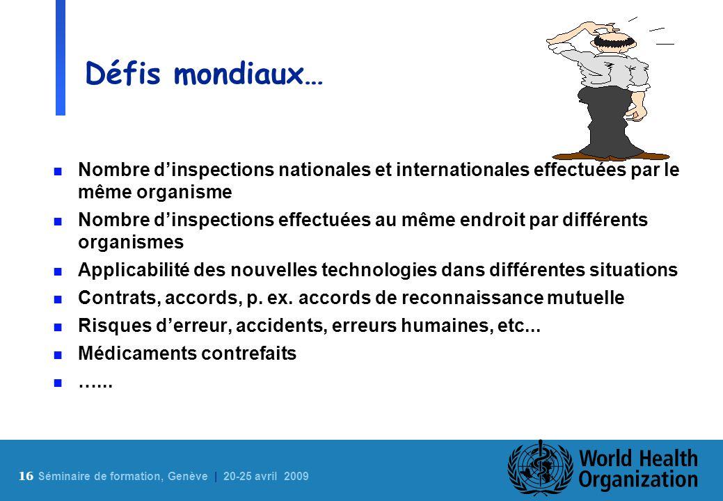 Défis mondiaux…Nombre d'inspections nationales et internationales effectuées par le même organisme.