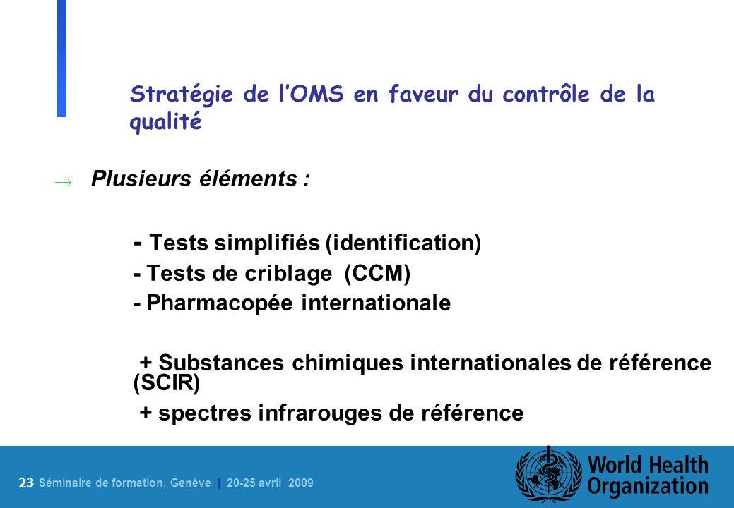 Stratégie de l'OMS en faveur du contrôle de la qualité