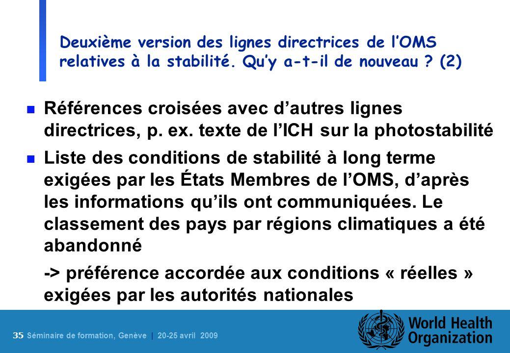 Deuxième version des lignes directrices de l'OMS relatives à la stabilité. Qu'y a-t-il de nouveau (2)