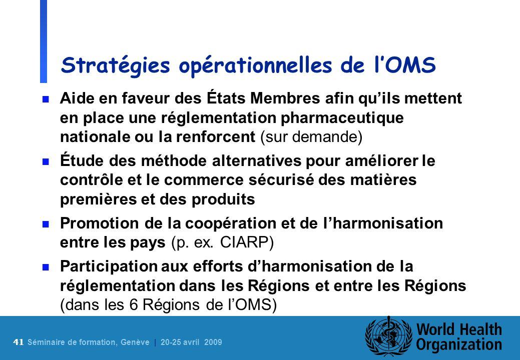 Stratégies opérationnelles de l'OMS
