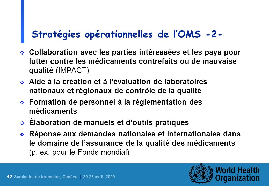 Stratégies opérationnelles de l'OMS -2-