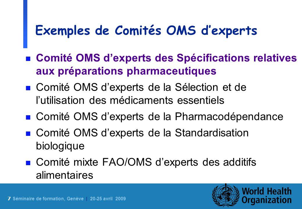 Exemples de Comités OMS d'experts