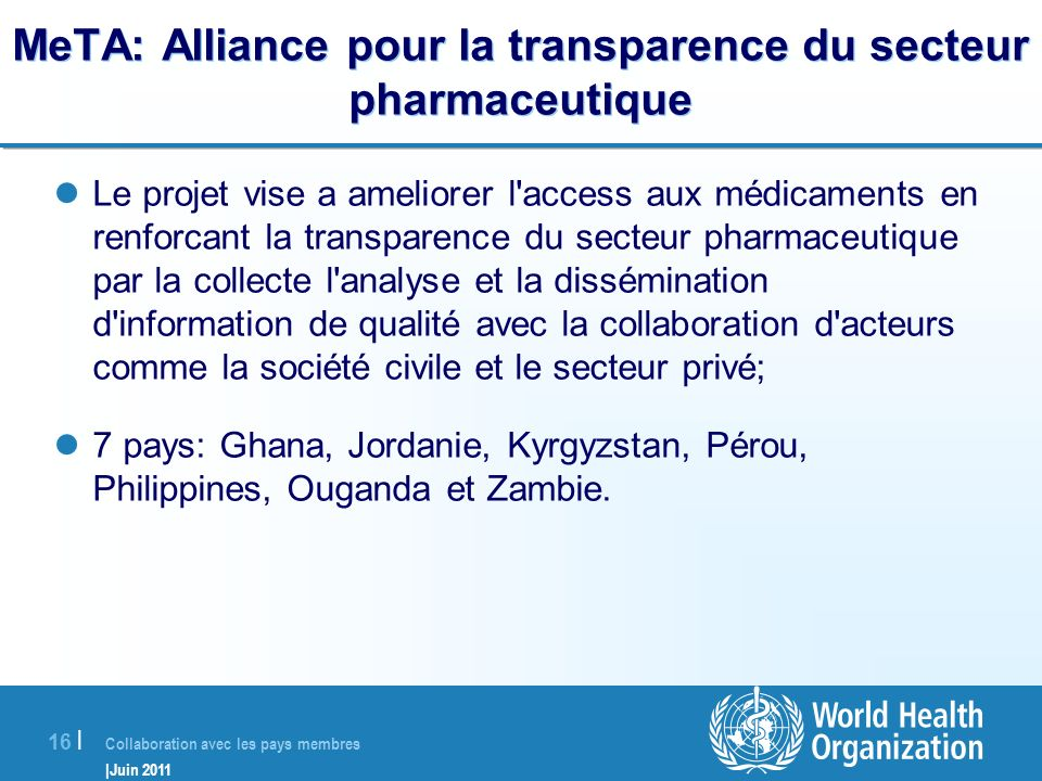 MeTA: Alliance pour la transparence du secteur pharmaceutique