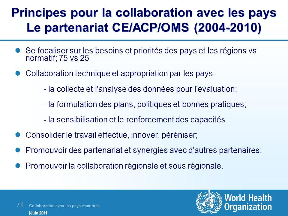 Principes pour la collaboration avec les pays Le partenariat CE/ACP/OMS (2004-2010)