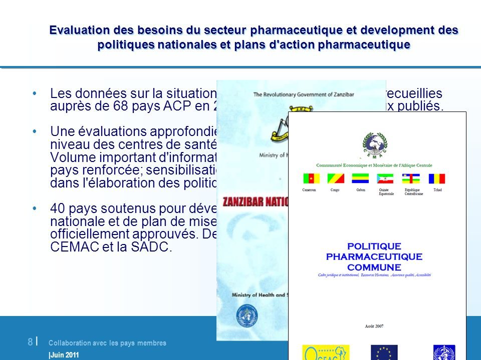Evaluation des besoins du secteur pharmaceutique et development des politiques nationales et plans d action pharmaceutique