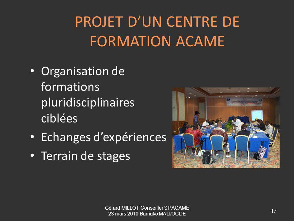 PROJET D'UN CENTRE DE FORMATION ACAME