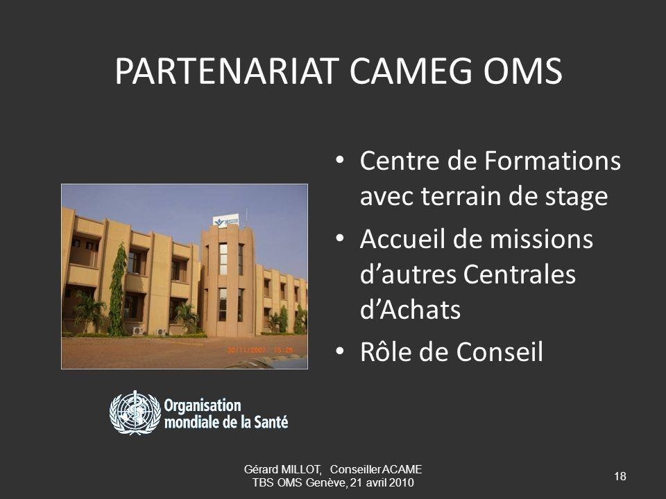 Gérard MILLOT, Conseiller ACAME TBS OMS Genève, 21 avril 2010