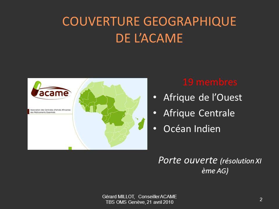 COUVERTURE GEOGRAPHIQUE DE L'ACAME