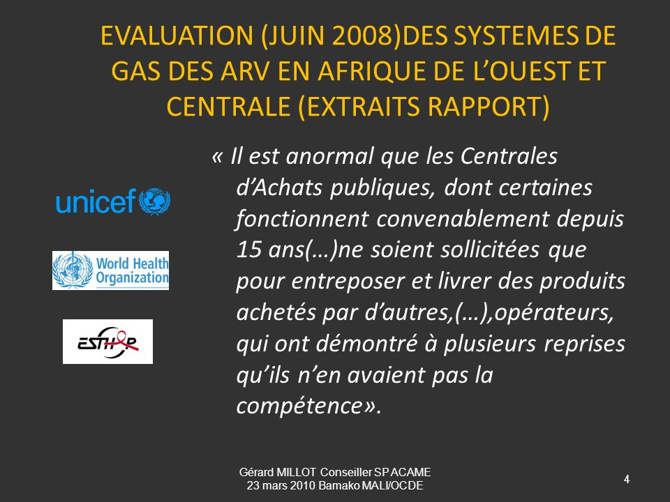Gérard MILLOT Conseiller SP ACAME 23 mars 2010 Bamako MALI/OCDE